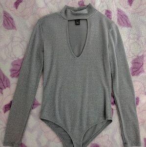 Gray Glittery Longsleeve Bodysuit